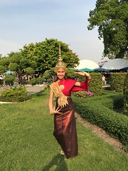 traditional clothes (ChalidaTour) Tags: thailand thai asia asian girl femme fils chica nina teen twen sweet cute beautiful petite slender slim traditional old style park gras clothes gold hat happyplanet asiafavorites