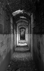 Abandoned asylum at Caldwell (ia.n) Tags: ayrshire scotland lugton asylum institute empty bw white black building ruin down run house country overrun passage dark shadow shadows