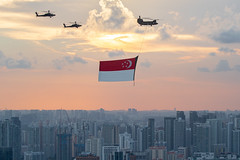 Singapore State Flag [Explore] (BP Chua) Tags: ndp2019 sgbicentennial oursingapore singapore flag apache aviation plane sunset city cityscape urban canon