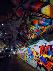 The Tunnel of Graffiti (Steve Taylor (Photography)) Tags: graffiti mural streetart tag ceiling colourful brick leakestreet tunnel truck van