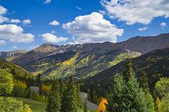 Highway 550 Colorado (Bernie Emmons) Tags: colorado sanjuannationalforest highway550 sanjuanmountains mountains aspentrees trees fallcolors clouds