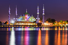 Crystal Mosque (Patrick Foto ;)) Tags: architecture asia asian attraction building city copyspace crystal culture dawn day dome faith famous galaxy god gold islam islamic landmark landscape malaysia masjid milky mosque muslim night oriental palace peaceful places pray prayer ramadhan religion religious scenery sky spiritual star symbol terengganu tourism way worship kualaterengganu
