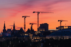 City Sunset (gubanov77) Tags: moscow russia sunset dusk glow afterglow sky city cityscape silhouette cranes