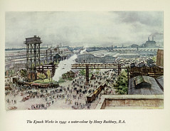 The Kynoch Works, Witton, Birmingham, 1944 - watercolour by Henry Rushbury RA. (mikeyashworth) Tags: mikeashworthcollection ici imperialchemicalindustries imi kynochworks birmingham kynochpress themetalsdivision 1950 witton industry printing typeface typography painting watercolour henryrushbury sirhenrygeorgerushburyra 1944 warartist birminghamindustrialhistory works workers industrialscene