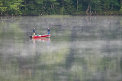A Peaceful Morning on the Water (Mark Polson) Tags: fog mist water lake boat fishing fisherman fall sarona wi red shoreline