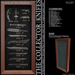 22769 - The Collector : Knifes for The Arcade : September 2019 (manuel ormidale) Tags: arcade thearcade arcadesl collector knifes 22769 bauwerk 22769bauwerk pacopooley dagger combat waterman bowie orientaldagger switchblade collection decoration knife utility kunal tojiro claw gacha gachaset