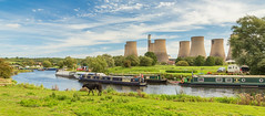 Walking along the River Soar. (Ian Emerson (Thanks for all the comments and faves) Tags: riversoar powerstation church water river leicestershire narrowboat cattle riverbank summer outdoor coolingtowers canon6d
