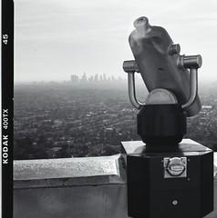 LA Hi Spy (Film3688) Tags: 6x6 mediumformat losangeles kodak hasselblad observatory hasselblad500cm zeiss80mm analog film blackandwhite monochrome skyline griffithobservatory