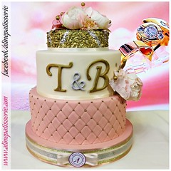 Gold & Silver Sequin Floral Engagement Cake (alinepatisserie) Tags: sequin floral gold silver rose offwhite engagement cake cakes cakeart cakeartist cakelove cakelovers cakestudio cakeboutique cakedecorator edible almond marzipan