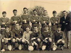 Royal Irish Rangers.- St Patricks Barracks ' The Depot Foodball Team early 1970s. (mrvisk) Tags: old irish history british army soccer players boots co pic groupshot mrvisk ulster people outdoor proud men sports kit caubeen faughaballagh military