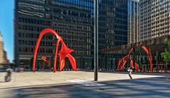 Mies van der Rohe and Calder (Tigra K) Tags: chicago illinois unitedstatesofamerica city sculpture color reflection art glass metal architecture square pattern arch unitedstates modernism 2017