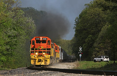 Storming up Kopje (GLC 392) Tags: mqt marquette rail railroad emd sd402 gp382 train turn job 3406 3407 3408 2043 mi michigan gw woodland park kopje hill brohman smoke up tree