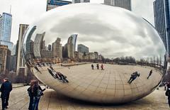 Chicago curves (Tigra K) Tags: chicago illinois unitedstatesofamerica city sculpture usa reflection art metal architecture garden unitedstates 2012