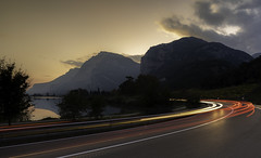 Italian Road Trip Light Trails (Michael Long Landscaper) Tags: dolomite benro glowing super dramatic exposure travel setting mountains dolomites autumn still reflection italy europe holiday outdoor landscape canon eos nature natural light road traffic trails nationalpark bolzano