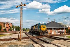 Downtown NV (Wheelnrail) Tags: csx csxt j780 indiana subdivision local north vernon in emd gp382 locomotive rail road railroad diamond madison rr downtown city depot station signal signals tilt target