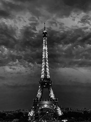 Eiffel Tower at Night (Ann Kunz) Tags: architecture paris travel eiffeltower blackandwhite