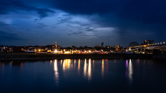 Storm approaching Nijmegen (bramtop_1990) Tags: nijmegen waalkade waal blue hour river long exposure stars stevenskerk landscape evening architecture rain storm reflection spiegelwaal nevengeul tamron 2470mm f28 vc g2 a032n nikon d610 nightlights