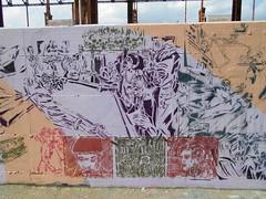 192 (en-ri) Tags: uomini verde viola rosso torino wall muro graffiti writing parco dora spray stencil