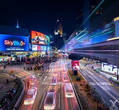 Cyberpunk KL (DanielKHC) Tags: malaysia kualalumpur bukitbintang neonlights monorail tvscreens cars light trails nikon d850 nikkor19mmtiltshift vertorama vertical panorama night cyberpunk narcos