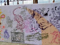 194 (en-ri) Tags: tigre tiger donne women uccelli birds uomini men spray stencil verde viola parco dora car auto automobile torino wall muro graffiti writing