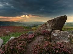 heather rocks (popcornChris) Tags: peakdistrict heather flowers rocks sunset moody sky storm
