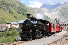 2019-08-31, DFB, Gletsch (Fototak) Tags: dampfzug treno railway train vapeur steam vapore schmalspurbahn valais switzerland dfb 9