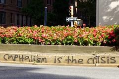 Capitalism is the crisis (pburka) Tags: ues parkav parkave parkavenue politics capitalism message crisis communication graffiti spraypaint nyc manhattan flowers socialism