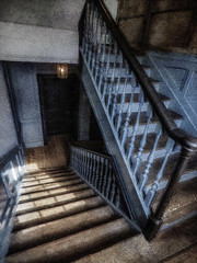 Sunshine Tumbles Down the Stairs (Steve Taylor (Photography)) Tags: architecture digitalart blue black brown grey staircase stairs uk gb england greatbritain unitedkingdom london perspective texture georgefriderichandel handel handel'shouse brookstreet mayfair panelling
