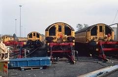 Battery Locomotives L15, L60 and L35 at Ruislip Depot. 1990. (Marra Man) Tags: londontransport batteryelectriclocomotives typel l15 l35 l60 ruislipdepot