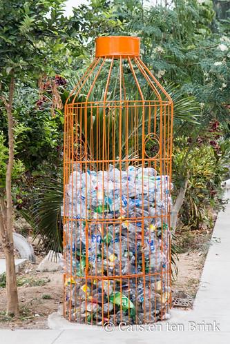Peru recycles - bottle bank in a school in Corrales