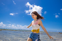 Young woman walking on beach in summer (Apricot Cafe) Tags: blue beach japan outdoors asia day happiness beautifulwoman copyspace naha carefree enjoyment oneperson lifestyles casualclothing cloudsky leisureactivity hairtoss okinawaprefecture oneyoungwomanonly lowangleview japaneseethnicity millennialgeneration asianandindianethnicities travel sea summer sky people tourism water smiling walking photography women relaxing tourist youngadult success vacations sleeveless toothysmile realpeople traveldestinations threequarterlength imgr32503