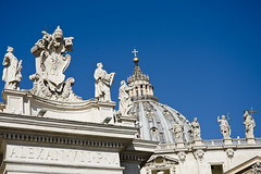The Dome.  St Peter's Basilica, Rome, Italy (MJ Reilly) Tags: rome statues dome sky italian stpeterssquare stpeters italy stpetersbasilica basilica