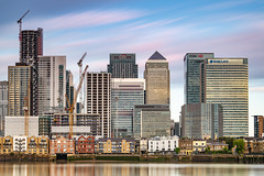 Skyline additions... (Aleem Yousaf) Tags: cityscpe london architecture buildings nikon d850 nikor tripod greenwich north houses glass steel cranes construction morning clouds sky light long exposure muted reflections cloudscape flickr camera digital citi hsbc jp morgan photography photo walk bike ride skyscraper calm financial institutions 70200mm lee neutral density filter world canary wharf canada square windows townhouses thames path