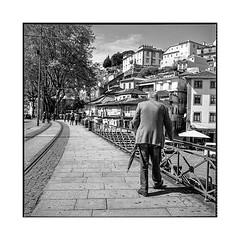 old man • porto, portugal • 2019 (lem's) Tags: old man pedestrian street city ville rue vieil homme passant parapluie umbrella porto portugal rolleiflex t
