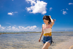 Young woman walking on beach in summer (Apricot Cafe) Tags: imgr32501 asia asianandindianethnicities japan japaneseethnicity millennialgeneration naha okinawaprefecture beach beautifulwoman blue carefree casualclothing cloudsky copyspace day enjoyment hairtoss happiness leisureactivity lifestyles lowangleview oneperson oneyoungwomanonly outdoors people photography realpeople relaxing sea sky sleeveless smiling success summer threequarterlength toothysmile tourism tourist travel traveldestinations vacations walking water women youngadult