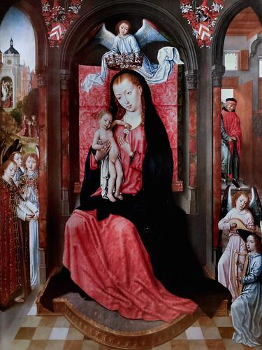 IMG_1300G Maître de la Légende de Sainte Ursule 1436-1504  Bruges Madone sur un trône et anges  Madonna on a throne and angels Cherbourg Musée des Beaux Arts Thomas Henry