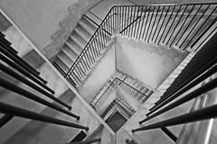 contemporary staircase (christikren) Tags: austria architecture absoluteblackandwhite ausstellung blackwhite christikren exhibition kunstmuseum lines linien monochrome noiretblanc stairs staircase stairwell krems kunstmeile panasonic concrete innamoramento ostrellina landesgalerie