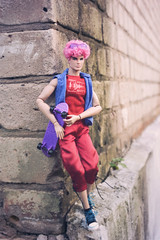 Bruises on Both my Knees for You (GothGeekBasterd) Tags: mlp surprise doll boy male pinkie pie integrity toys pink glasses barbie mattel blood drops little pony i3mlp fashion royalty outdoors outside walk skateboader