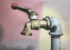 Any moment now. (The drip will drop) (grumpyward) Tags: art tap watercolour rustic brass