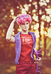 Chest Always so Puffed (GothGeekBasterd) Tags: mlp surprise doll boy male pinkie pie integrity toys pink glasses barbie mattel blood drops little pony i3mlp fashion royalty outdoors outside walk skateboader