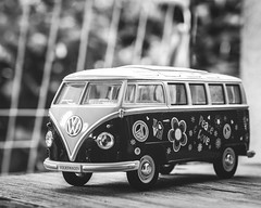 on the road again .. (Tomsch) Tags: urlaub holidays bulli vw volkswagen bus model modellauto toy blackandwhite bw schwarzweiss betterinblackandwhite closeup lovepeace loveandpeace love peace