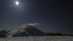 Mount Feathertop, Stars and Moon (blachswan) Tags: mountfeathertop alpinenationalpark winter snow victoria australia moon timeexposure orion cloud pleiades constellation stars summitcloud