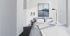 Jack Hanby Interiors; Clean Scandinavian Bedroom (Jack Hanby -) Tags: second life interiors home living lifestyle bedroom bed products virtual world decorating decoration floor lamp sheer curtain rug black passageway fancy decor nice modern