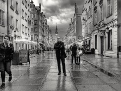 Pensive (wojciechpolewski) Tags: perspective person people streetlife street photo photos blanconegro blackwhite poland