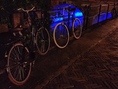 Night bike (katy1279) Tags: bicycles nightlight bluelight canal thenetherlandsholland