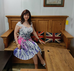 Benched (Joanne (Hay Llamas!)) Tags: transgender transwoman tg brunette tgirl cute uk brit british britgirl dress