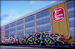 (timetomakethepasta) Tags: kerse gier amfm freight train graffiti art kcs autorack kansas city southern de mexico