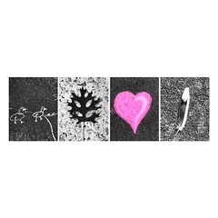 Found on the ground. (jeanne.marie.) Tags: summer found chalk drawing mosaic sidewalk myneighborhood mydailywalk pink heart selectivecolor iphoneography iphone7plus park pond kids'art