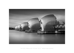 Thames Barrier.. (LoneWolfA7rii) Tags: city uk longexposure blackandwhite bw white black art water monochrome thames architecture clouds river outdoors mono tide