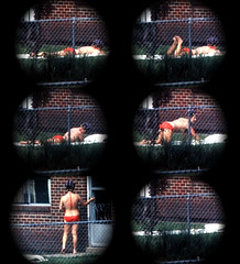 Viewing (fillzees) Tags: sequence candid girl woman midriff belly bikini swimsuit swimwear bathingsuit prone standing backyard towel house fence spying voyeur vouyer voyer person unaware tele series red mashup composite visualmashups barefeet barefoot